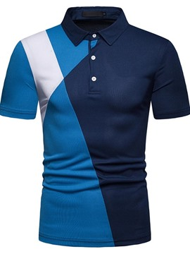 Ericdress Patchwork Color Block Men's Casual Polo Shirt