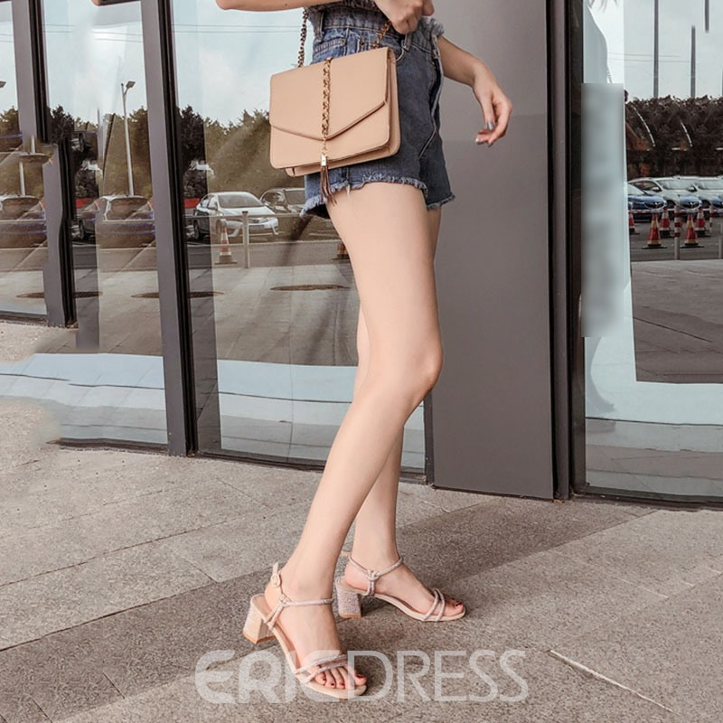 Ericdress Square Toe Line-Style Buckle Chunky Heel Casual Sandals