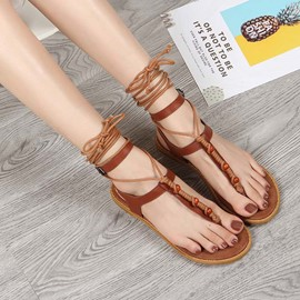 Ericdress Flat With Thong Line-Style Buckle Thread Sandals