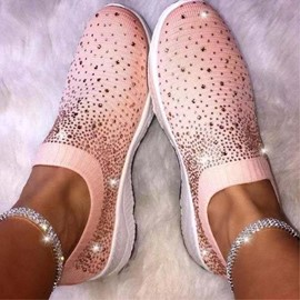 Ericdress Rhinestone Round Toe Slip-On Low Heel Flats