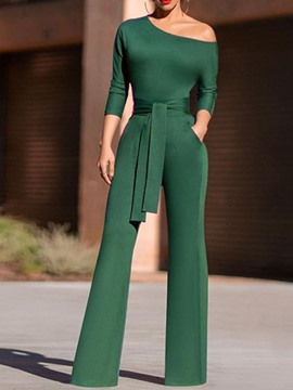 Ericdress Plain Elegant Lace-Up Slim Bellbottoms Jumpsuit