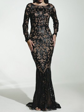 Ericdress Long Sleeve Round Neck Sequins Mid Waist Dress