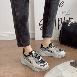 Ericdress Low-Cut Upper Round Toe Lace-Up Color Block Sneakers