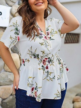 Ericdress Plant Mid-Length Short Sleeve Blouse