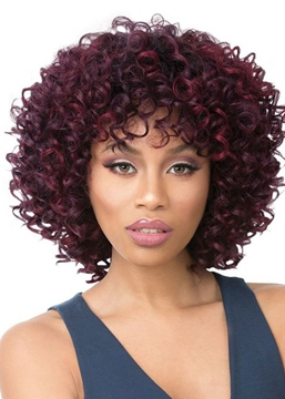 Ericdress African American Women's Kinky Curly Medium Bob Hairstyle Synthetic Hair Capless Wigs 14Inch