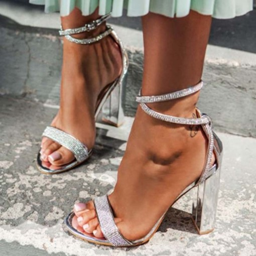 Ericdress Chunky Heel Buckle Open Toe Plain Sandals