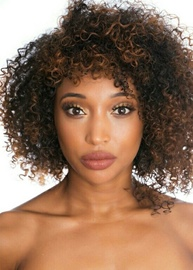 Ericdress Medium Hairstyles Women's Afro Kinky Curly Human Hair Lace Front Wigs For African American 12Inch