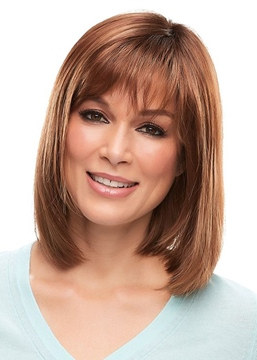 Ericdress Women's Medium Bob Hairstyles Natural Straight Human Hair Wigs Lace Front Wigs With Bangs 16Inch