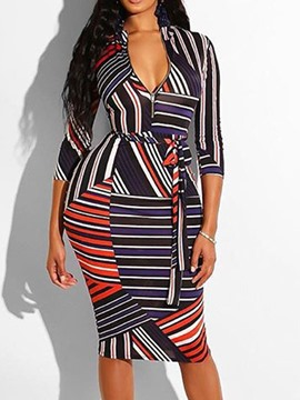 Ericdress Print Mid-Calf Three-Quarter Sleeve Stripe Fall Dress