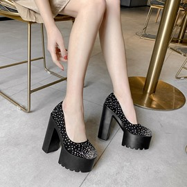 Ericdress Round Toe Slip-On Rhinestone Casual Pumps