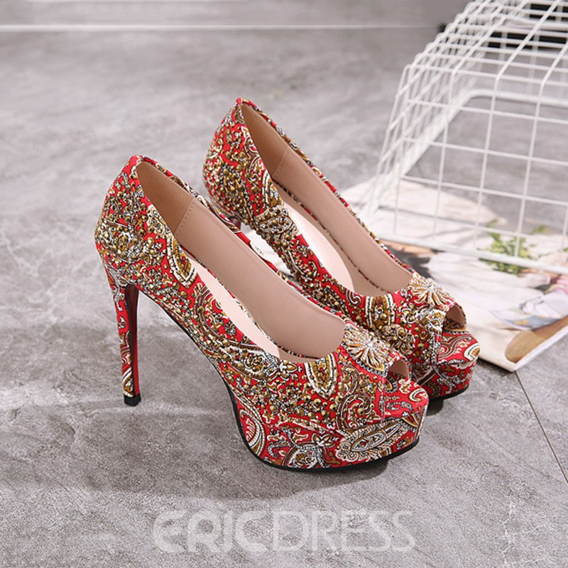 Ericdress Stiletto Heel Print Peep Toe Low-Cut Upper Pumps