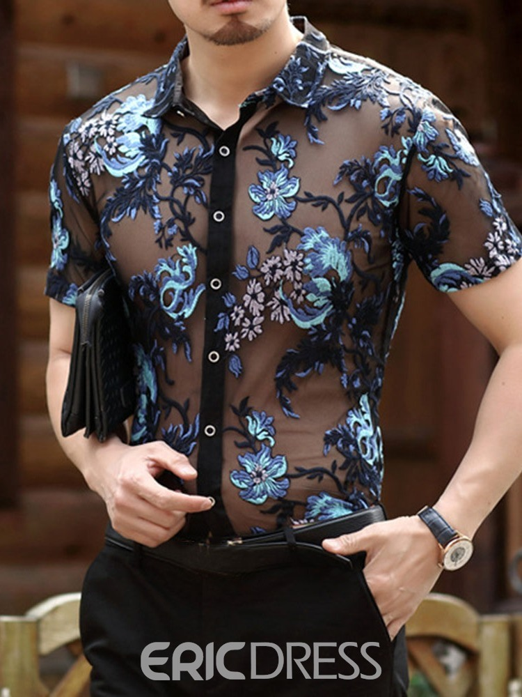Ericdress Lapel Casual Embroidery Slim Summer Shirt