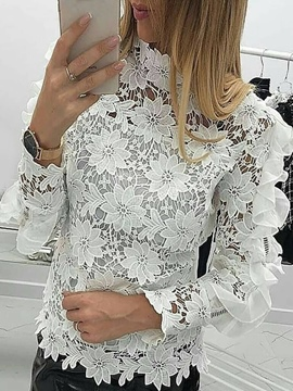 Ericdress Regular Stand Collar Lace Nine Points Women's Blouse