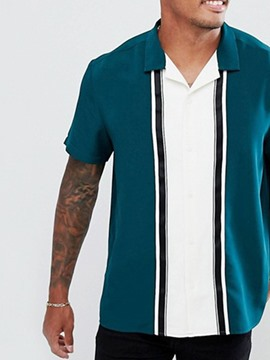 Ericdress Patchwork Lapel Casual Summer Single-Breasted Shirt