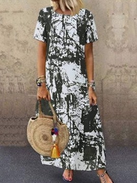 Ericdress Short Sleeve Round Neck Ankle-Length A-Line Pullover Dress
