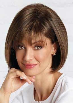 Ericdress Natural Looking Women's Short Bob Hairstyles Straight Human Hair Wigs With Bangs Lace Front Wigs 12Inch