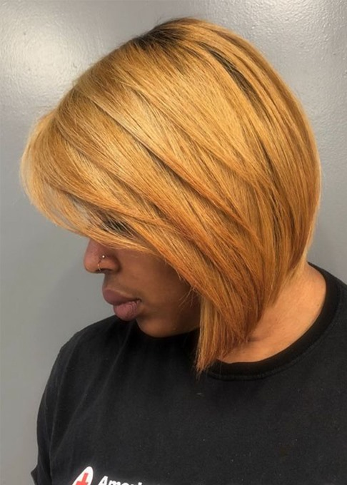 Ericdress African American Women's Blonde Layered Bob Hairstyles Straight Human Hair Lace Front Wigs 12Inch
