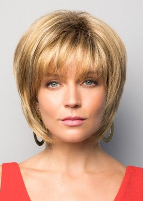 Ericdress Natural Looking Women's Short Bob Hairstyles Straight Human Hair Wigs With Bangs Lace Front Wigs 10Inch