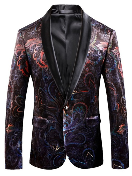 Ericdress One Button Vintage Print Men's Leisure Blazers