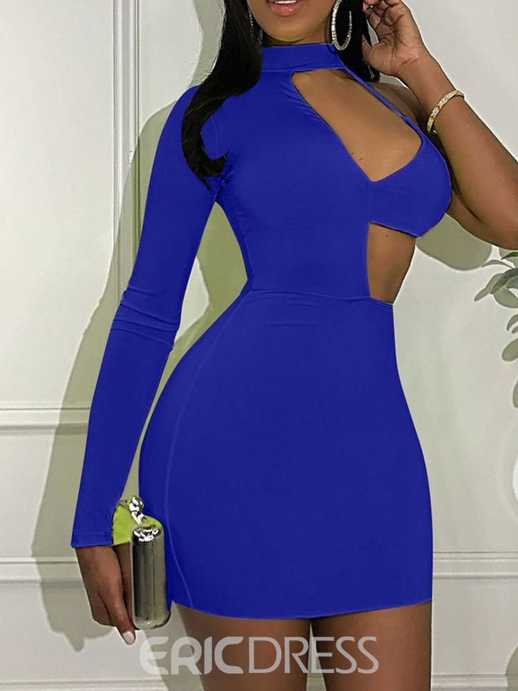 Ericdress Above Knee Stand Collar Long Sleeve Bodycon One-Shoulder Dress