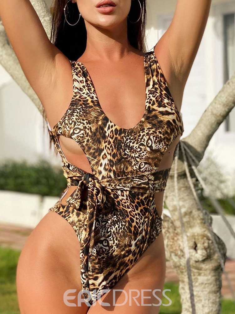 Ericdress With Leopard Grain One Piece Leopard Swimwear