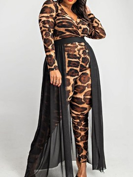 Ericdress Vintage Leopard High Waist Slim Jumpsuit