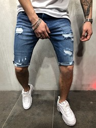 Ericdress Slim Plain Hole Casual Low Waist Mens Shorts