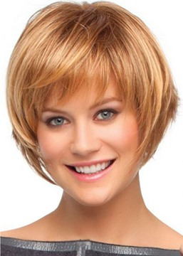 Ericdress Short Bob Hairstyles Women's Brown Color Straight Human Hair Wigs Lace Front Wigs With Bangs 10Inch