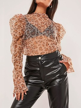Ericdress Leopard Long Sleeve Standard Women's Blouse