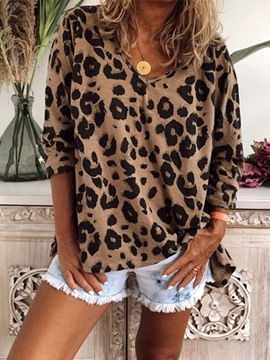 Ericdress Leopard Long Sleeve Standard Women's Casual Loose T-Shirt
