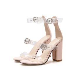 Ericdress Chunky Heel Heel Covering Line-Style Buckle Plain Sandals