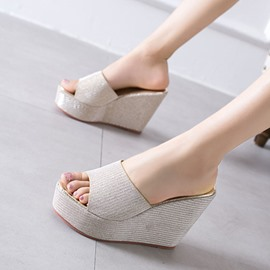 Ericdress Platform Slip-On Wedge Heel Plain Slippers