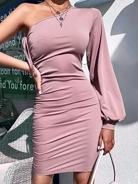 Ericdress Above Knee Lace-Up Oblique Collar Bodycon Plain Dress