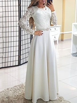 Ericdress Round Neck Floor-Length Long Sleeve Regular A-Line Dress