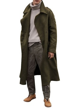 manteau slim homme ericdress long revers uni
