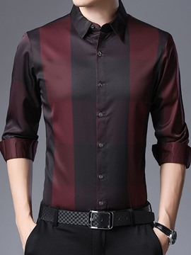 Ericdress Plaid Casual Print Men's Slim Shirt