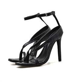 Ericdress Line-Style Buckle Toe Ring Stiletto Heel Casual Sandals