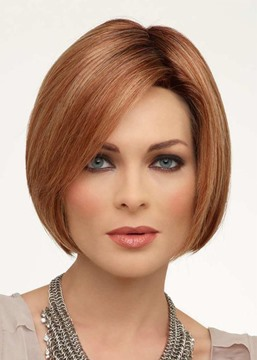 Ericdress Short Bob Hairstyles Women's Middle Part Straight Human Hair Wigs Lace Front Wigs 10Inch