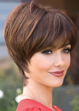 Ericdress Elegant Women's Pixie Cut Bob Hairstyles With Bangs Straight Human Hair Wigs Lace Front Wigs 8Inch