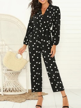Ericdress Polka Dots Print Mid-Calf Loose Women's Jumpsuit
