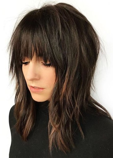 Ericdress Medium Layered Hairstyles Women's Shaggy Natural Color Straight Synthetic Hair Capless Wigs With Bangs 18Inch