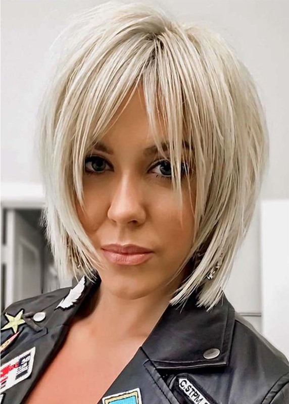Ericdress Womens Short Shaggy Layered Hairstyles Blonde Color Straight Synthetic Hair Capless Wigs 12Inch