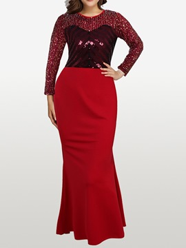 Ericdress Sequins Round Neck Floor-Length Mermaid Dress Dress