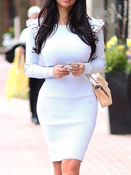 ericdress manches longues falbala col rond robe moulante taille mi-haute