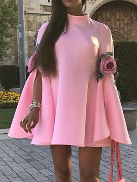 Ericdress Long Sleeve Above Knee Stand Collar Sweet A-Line Dress