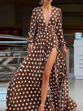 Ericdress Long Sleeve V-Neck Floor-Length Summer Travel Look Dress