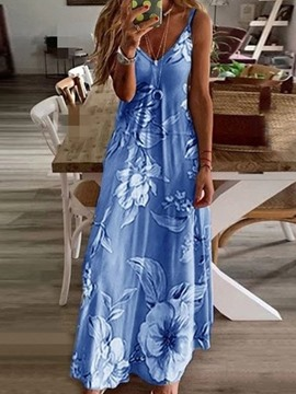 Ericdress Floor-Length Sleeveless V-Neck Floral Pullover Dress