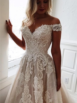 Ericdress Floor-Length Off-The-Shoulder A-Line Sleeveless Garden/Outdoor Wedding Dress