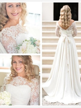 Ericdress Floor-Length Long Sleeves A-Line Off-The-Shoulder Beach Wedding Dress