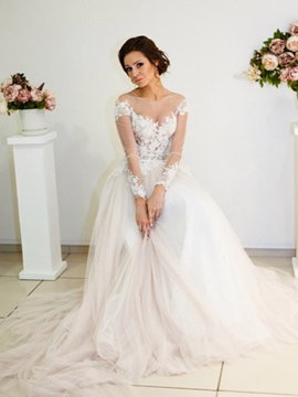 Ericdress Button Long Sleeves Floor-Length A-Line Church Wedding Dress